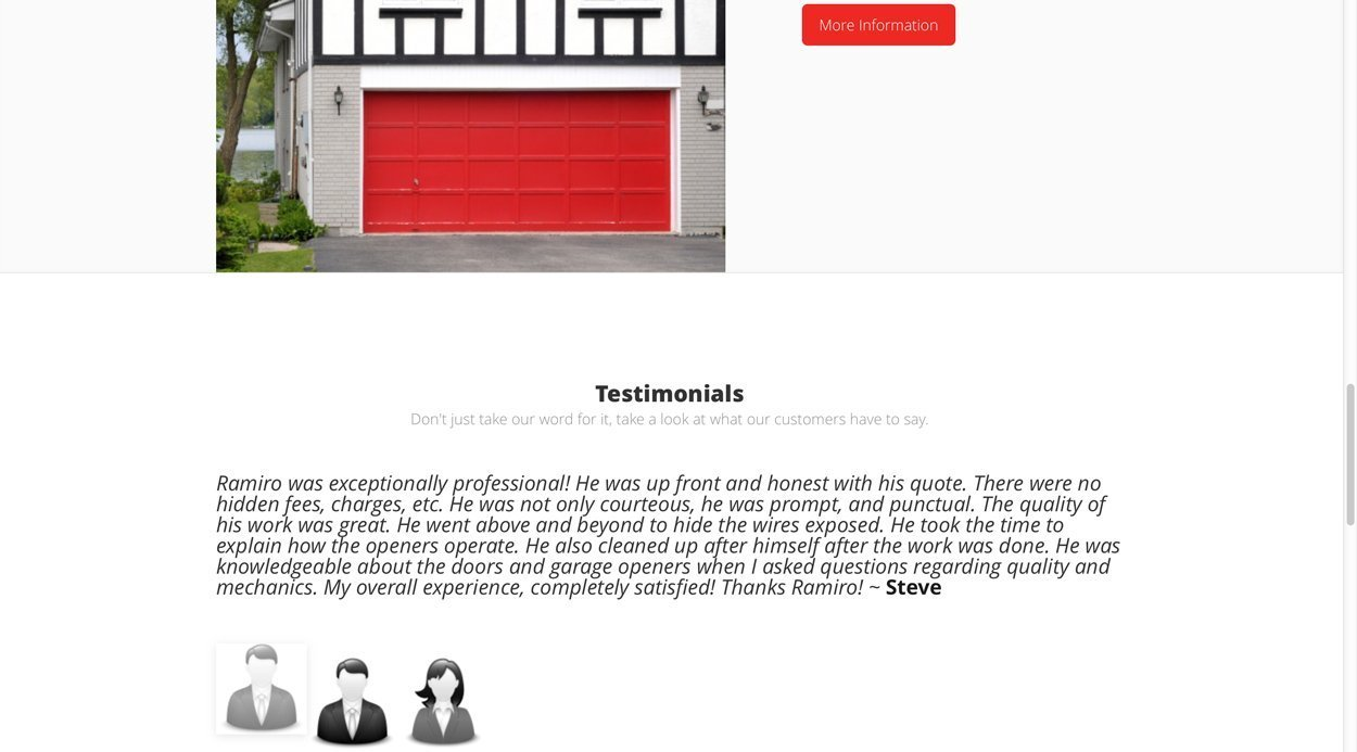 Local Business Client Testimonials for Quality Check Garage Doors