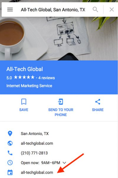 Google My Business Search Result With Website Listed